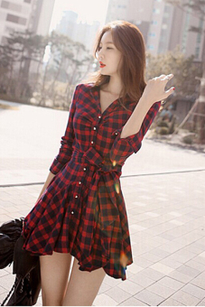 Jetting Buy Women Blouse Long Sleeve Swing Hem Dress Black+Red - picture 2