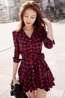 Jetting Buy Women Blouse Long Sleeve Swing Hem Dress Black+Red - picture 3