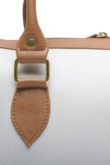 Jewelmine Hepburn Top-Handle Bag (White/Tan) - picture 2
