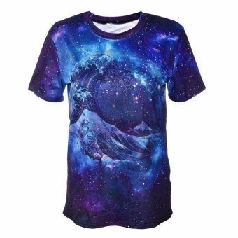 Jiayiqi Purple Galaxy Star Printed Slim T-Shirt Tops for Women -intl