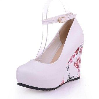 Jiayiqi Women Fashion Wedges Printed High Heels Shoes White - intl - 4