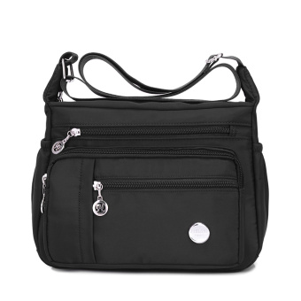 Jielangshi fashion women's large capacity Oxford Cloth Bag nylon messenger bag (Black small section) (Black small section)