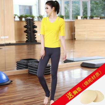 Shopping Jin Lun spring and summer half-sleeve shirt yoga clothes (K1095 Yellow + K3080 dark gray) (K1095 Yellow + K3080 dark gray) in Philippines