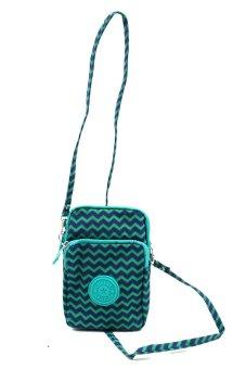 JJJ Blue Green Zigzag Sling Pouch Bag