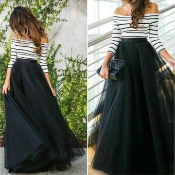 Jo.In New Fashion Women Ladies Off-shoulder Striped High Waist Tutu Ball Gown Party Club Slim Long Dress Sets - intl