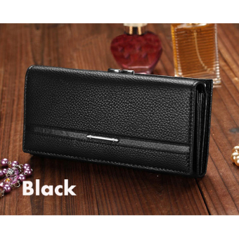 Jo.In Women High Quality Solid Button Leather Hand Bag Long ClutchWallet Purse Black - 5