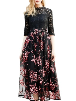 JollyChic Women's Maxi Long Dress Lace Patchwork Floral Pattern (Red) - intl - 4