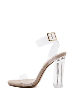 JollyChic Women's Sandals Transparent Ankle Strap Chunky Heel Shoes - intl - 2