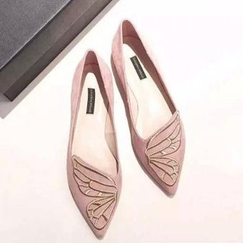 JOY Butterflies embroidered pointed flat shoes(pink) - 3
