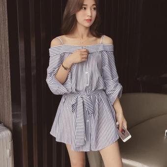 JOY Korea Korean fashion Big size shirt skirt Black - 2