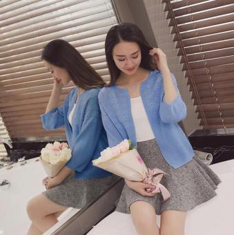 JOY Korea Korean fashion loose short sweater cardigan Blue - 2