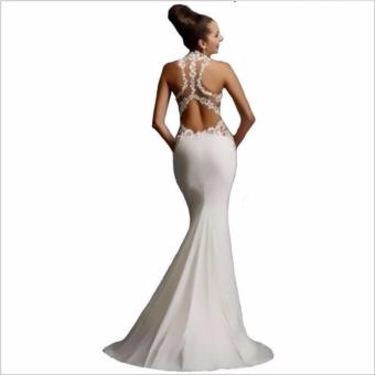 JVIVI Newest Bridesmaid Dress Formal Dress Luxury Lace EmbroideryFloor Length Formal Evening Dress Mermaid Dress Maxi Long White -intl - 2