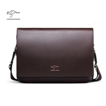 Kangaroo Kingdom Male Shoulder Bag Genuine Leather Business Bag For Men(Horizontal Version)(Medium) - 2