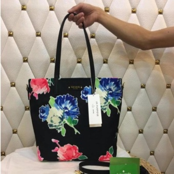 Kate Spade Vertical Nylon Floral Print Tote Bag with Sling in Black