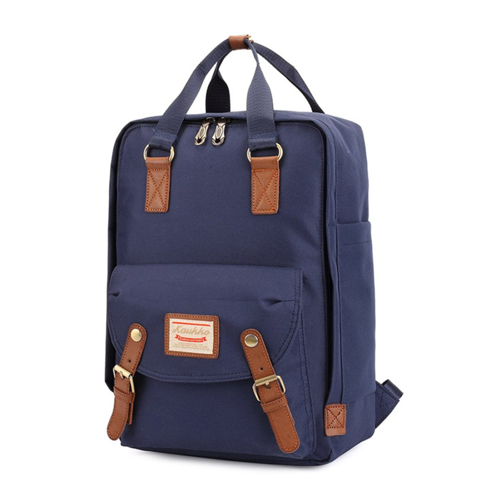 f24fac5979 ... KAUKKO XF209 Vintage British Style Washed Canvas Unisex Backpack  (Midnight Blue) ...
