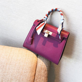 Kelly European and American female New style embossed leather shoulder bag (Purple)
