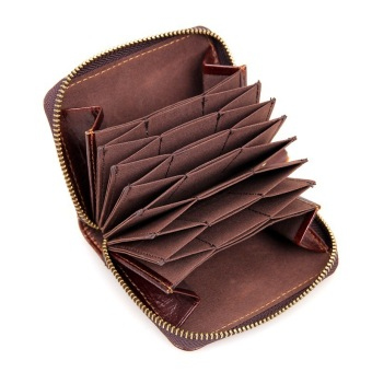 KEVIN YUN Vintage Men Genuine Leather Credit Card Holder Coffee - 5