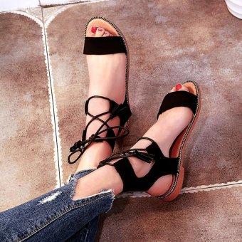 Khoee A158 Womens Flat Lace Up Leg Strappy Gladiator FashionSandals (black) - 3