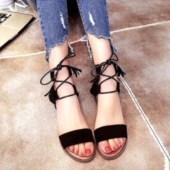Khoee A158 Womens Flat Lace Up Leg Strappy Gladiator FashionSandals (black) - 2