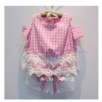 Kids Blouse with Shorts Plaid Semi Off Shoulder Top Girls CrochetLace Checkered Shirt with Shorts Set - 2