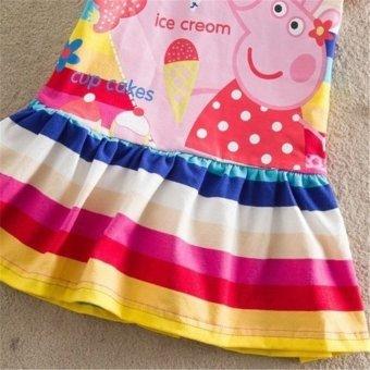 Kids Girls Peppa Pig Striped Rainbow T-Shirt Skirt Child ShortSleeve Dress - intl - 5