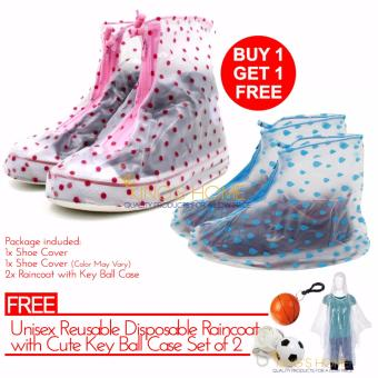 King's Rain Waterproof Shoe Cover Polkadots Buy 1 Take 1 with FREE Raincoat with Ball Keychain Case 2 Pcs