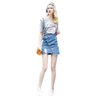 Kisnow Female Fashion Denim Midi Skirts(Color:Blue) - intl - 3