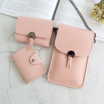 Kiss simple combination of small wallet New style student's bag Women's mobile phone bag (Rubber Powder) (Rubber Powder)