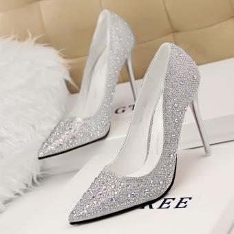 KOKO Fashion High-Heeled Shoes Woman Pumps Thin Heels Crystal HighHeels Pointed Toe Closed Toe Ladies Wedding Shoes Women Shoes(Pink) - 2