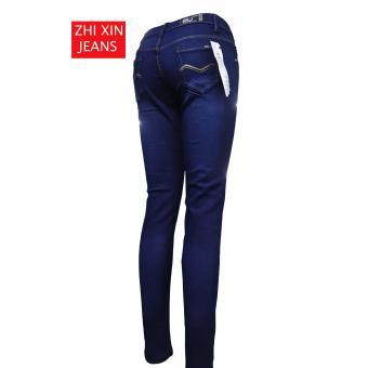Korea Women's Tattered Classic Ripped Skinny Jeans BLUE - 3