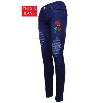 Korea Women's Tattered Classic Ripped Skinny Jeans BLUE - 2