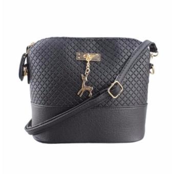 Korean Bag Leather Sling Bag Reindeer Charm Chain Black Casual Bag Body Bag Crossbody Bag Korean Fashion Bag