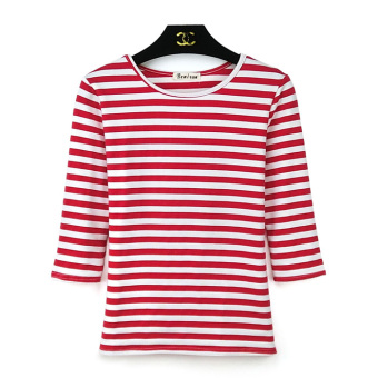 Korean cotton Slim fit Plus-sized bottoming shirt Women's Top (Striped red 862 # striped)