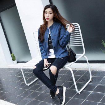 Korean Fashion NEW Women Basic Coats Autumn Spring Women DenimJacket New Long Sleeve Slim Female Jeans Coat Casual Womens Outwear- intl