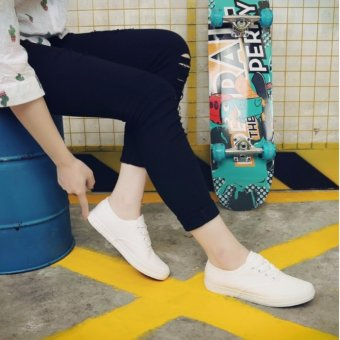 Korean Fashion White Canvas Sneakers with Lace - 2