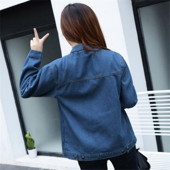 Korean Fashion Women Basic Coats Autumn Spring Women Denim JacketNew Long Sleeve Slim Female Jeans Coat Casual Womens Outwear - intl - 4