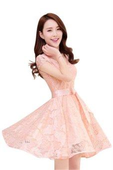 Korean Fashion Women Elegant Tunic Lace Dress HDS050 Pink - 2