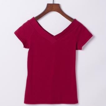 Korean female V-neck Slim fit white bottoming shirt T-shirt (Wine red color)