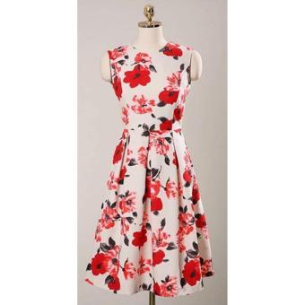 Korean Gissele Floral Cotton Midi Dress w/ Belt (Red) - 4
