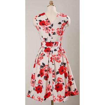 Korean Gissele Floral Cotton Midi Dress w/ Belt (Red) - 5