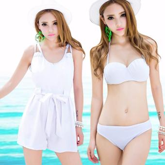 Korean Halter Two Piece Bikini with Cover UP Set UV Protect Swimwear Swimsuit Set