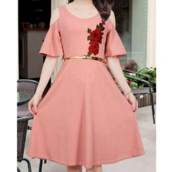 Korean Kathleen Crepe Embroidered Cold Shoulder A-Line Midi Dress with Belt (OldRose)