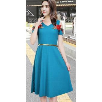 Korean Meryle Crepe Embroidered Cold Shoulder A-Line Midi Dress with Belt (BlueGreen)