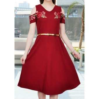Korean Meryle Crepe Embroidered Cold Shoulder A-Line Midi Dress with Belt (Maroon)