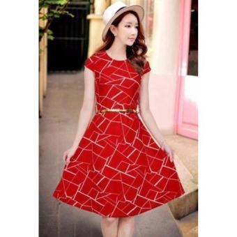 Korean Mitch Geometric A-Line Midi Dress w/ Belt (Red)