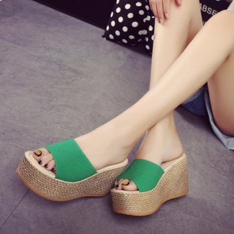 Korean Platforms Sandals Wedges High Heel Shoes Green - intl - 4