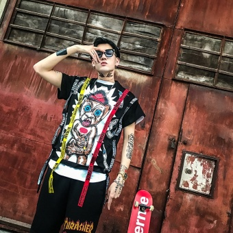 Korean Street BF Wind, Half Sleeve Man Gd, Quan Zhilong Same ShortSleeved T-shirt, Personality Trend Coat, Hip-hop Loose Tee - intl - 3