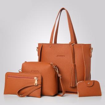 Korean style 4 in 1 Jingpin PU Leather Shoulder Bag Set (Brown)