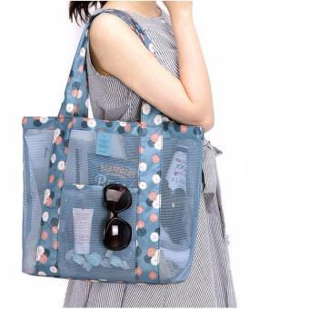 Korean Style B-001 Coating Mesh Multi - functional Clothing Cosmetics Package Shopping Bag Beach Tote Bag (Blue) - 3