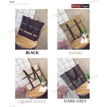 Korean Style B-003 High Quality Canvas Fashion Grid Women LargeCapacity Shopping Tote Bag Student Shoulder Bag(Black) - 2